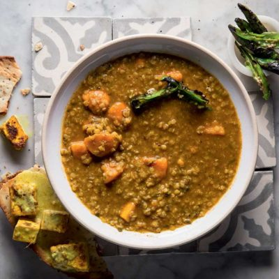 Curried lentil and roast sweet potato soup with paneer naan