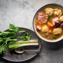 Gammon-and-barley soup with cheesy dumplings