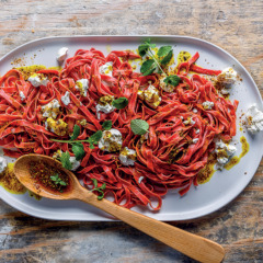 Handmade beetroot tagliatelle with Cape Malay burnt butter