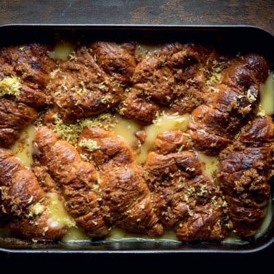 Lemon curd bread-and-butter pudding