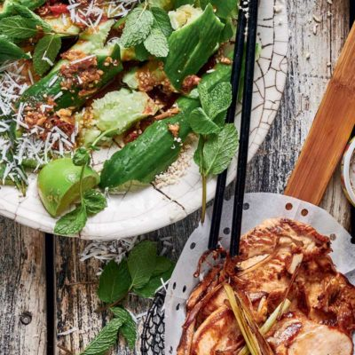 Lemongrass chicken with smashed cucumber salad