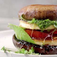 Brown mushroom-and-halloumi burger
