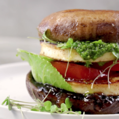 Brown mushroom-and-halloumi burger