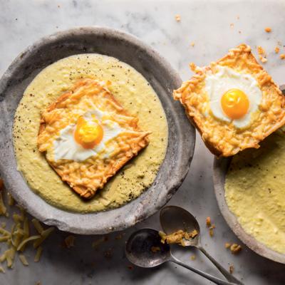 Smoky corn soup with cheesy egg toast