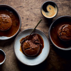 Twice-baked chocolate soufflés with coffee sauce