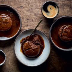 Twice-baked chocolate soufflés with coffee sauce