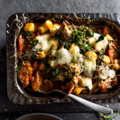 Baked rosemary lamb sausage and spinach gnocchi