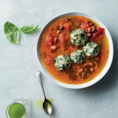 Basil gnudi with borlotti beans