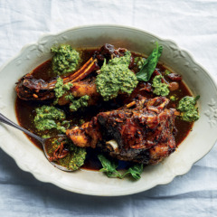 Braised lamb shoulder with basil-and-pistachio pesto