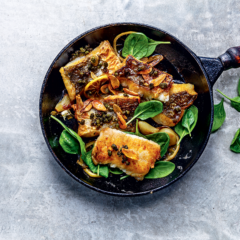 Garlic-and-caper butter pan-fried hake