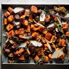 Zucca e funghi al forno (roast pumpkin and mushrooms)