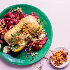 Stuffed butternut roast with beetroot quinoa and crunchy chickpeas