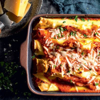 Three-cheese cannelloni