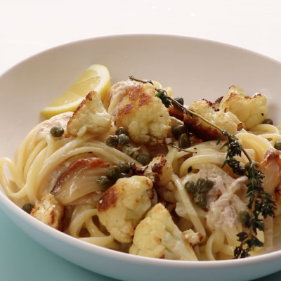 Roast cauliflower, caper and tuna linguine