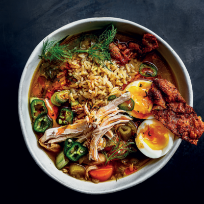 Asian-style chicken broth with brown rice and soft-boiled egg