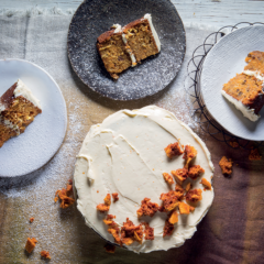 Banana-and-pineapple carrot cake with honeycomb-and-Clemengold icing