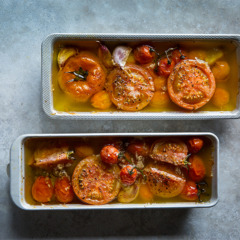 Confit tomatoes in garlic-and-anchovy oil