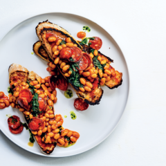 Baked beans on toast with spicy chorizo and puréed coriander