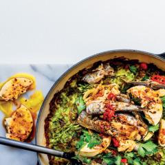 Rösti topped with lemon-marinated feta and sardines