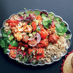 Spicy pilchard frikkadels with pearl barley and tomato salsa