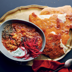 Sweet potato dhal with yoghurt flatbread