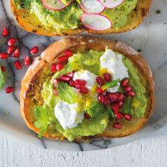 Avocado, chevin and pomegranate toast