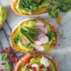 Avocado, radish and anchovy toast