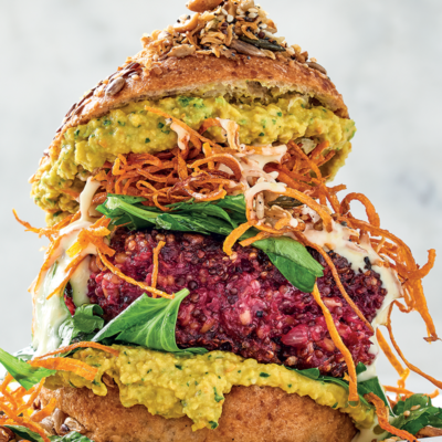 Beetroot-and-quinoa crunch burgers with turmeric