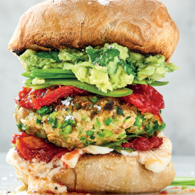 Butter bean-and-pea burgers with smashed avocado