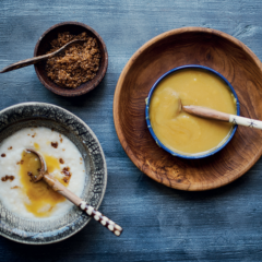 Mielie-meal porridge with maple-butter sauce