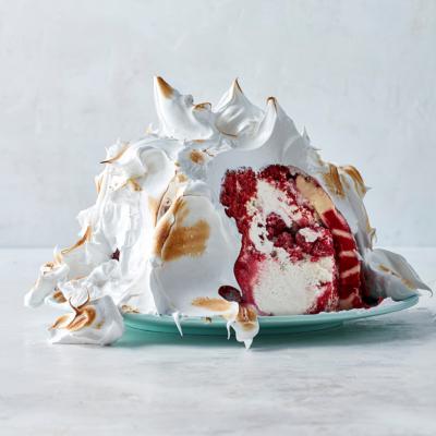 Red velvet ice-cream bombe