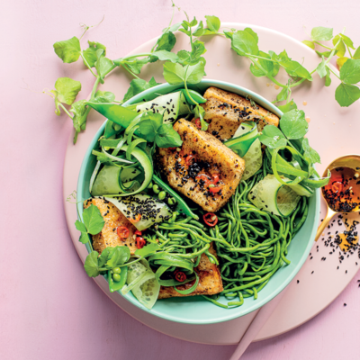 Spinach-and-cauli noodles with crispy tofu and hot sesame-maple dressing