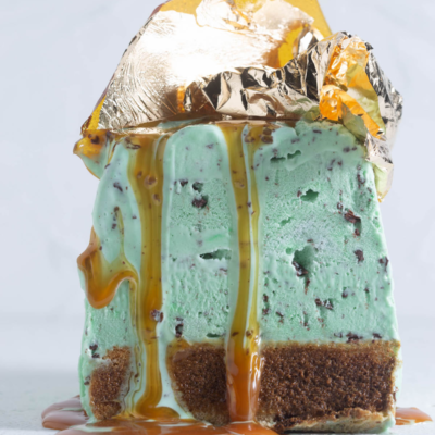 Green-and-gold tiramisu ice-cream cake with sugar shards