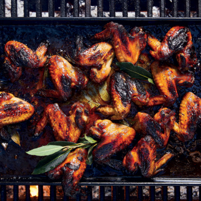 Sticky apricot chicken wings