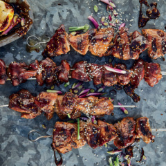Taiwanese soya-sesame pork and chicken liver skewers