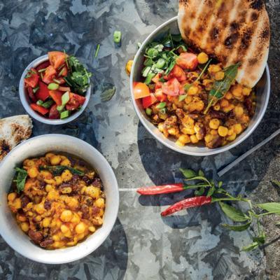 Three-bean potjie curry