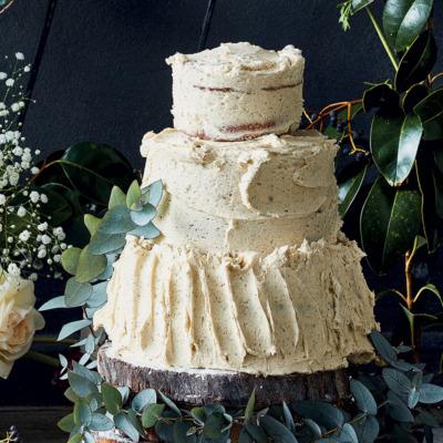 Vanilla box cake with caramel frosting
