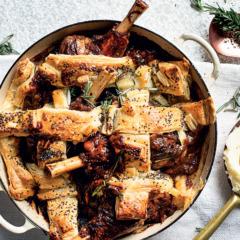 Cheat's slow-cooked lamb shank lattice pie