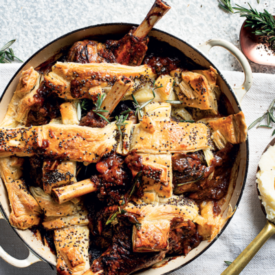 Cheat's slow-cooked lamb shank lattice pie