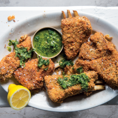 Crusted lamb ribs with anchovy-and-parsley salsa