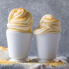 Vanilla soft serve with praline dust