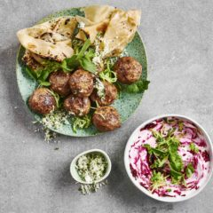 Lamb frikkadels with beetroot raita