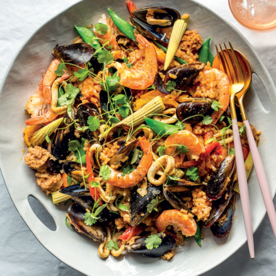 Mexican-style chorizo-and-seafood paella
