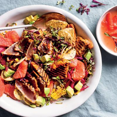 Mexican-style seared tuna nacho salad