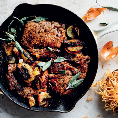 Pan-seared thick-cut steaks with toffee onions