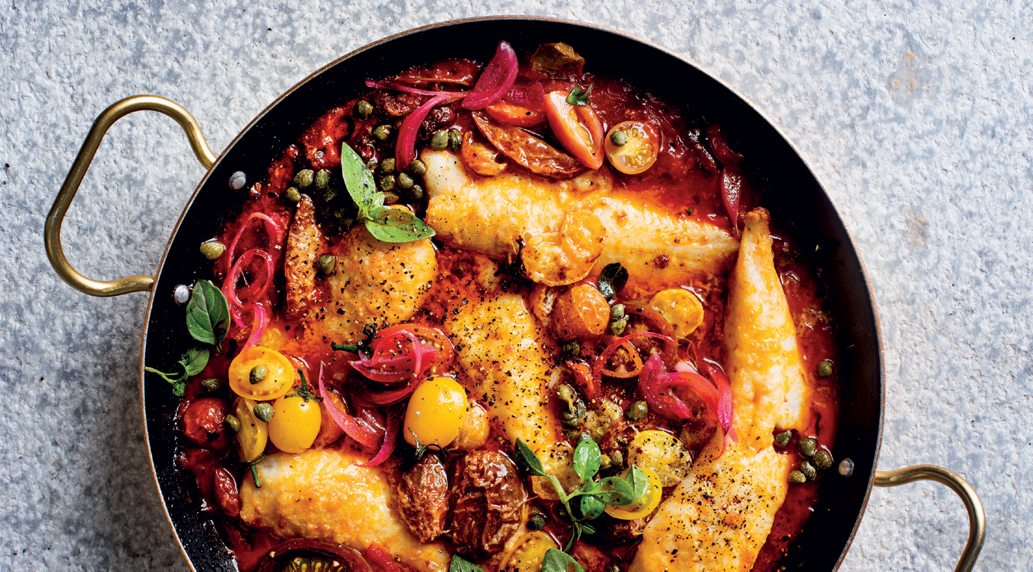Puttanesca baked fish
