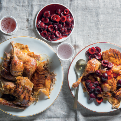 Slow-roasted duck with cherry sauce