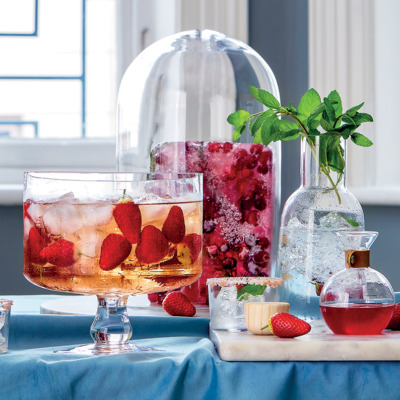 Tequila-and-strawberry rosé punch