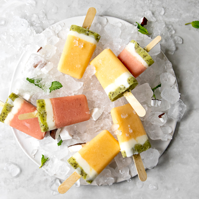 Melon-and-coconut ice lollies