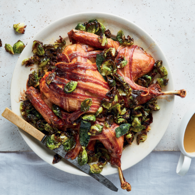 Spatchcock bacon-and-Brussels sprout confetti turkey with gravy